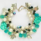 Cat and Paw Teal Green Black White Bead Charm Bracelet