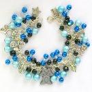 Hematite Cat and Angel Blue Black Cha Cha Charm Bracelet