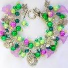 Flower Garden Cameo Butterfly Dragonfly Green Purple Charm Bracelet