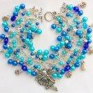 Fairy Stars and Moon Aqua Blue Crystal Faux Pearl Charm Bracelet