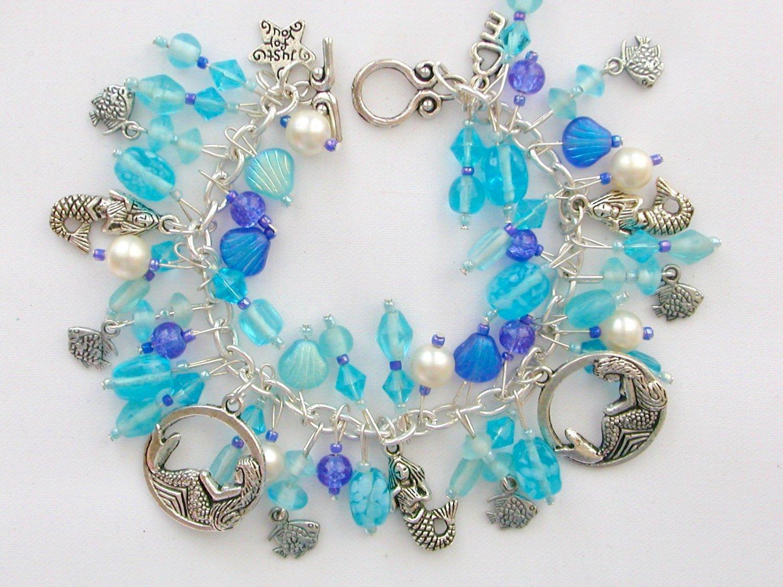 Mermaid Fish Czech Seashell Bead Aqua and Blue Charm Bracelet