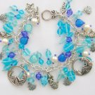 Mermaid Fish Czech Seashell Bead Aqua and Blue Charm Bracelet