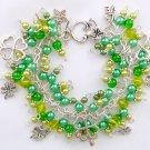Four Leaf Clover Green Pearl Cha Cha Charm Bracelet