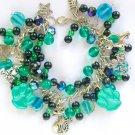 Cat and Paw Print Teal Green Black Glass Bead Charm Bracelet