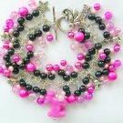Dog Pink and Black Pony Bead Cha Cha Charm Bracelet