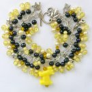 Dog Yellow & Black Pony Bead Cha Cha Charm Bracelet