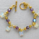 Czech Glass Iridescent Butterfly Purple AB Crystal Bracelet