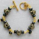 Czech Black Cat Face Bead Gold Tone Crystal Bracelet