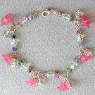 Pink Bell Flower Crystal AB Iridescent Glass Bead Bracelet