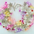 Pink Purple Yellow White Flower Crystal Bead Charm Bracelet