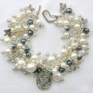 Cameo Flower Charm Grey & White Pearl Bead Cha Cha Bracelet