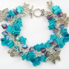 Butterfly Aqua Blue Purple Iridescent AB Bead Charm Bracelet