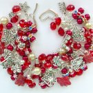 Red Czech Butterfly Glass Bead Cha Cha Charm Bracelet