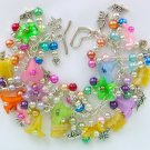 Flower Rainbow Yellow Czech Glass Butterfly Bead Charm Bracelet