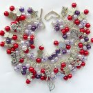 Love My Cat Red and Purple Pearl Bead Cha Cha Charm Bracelet