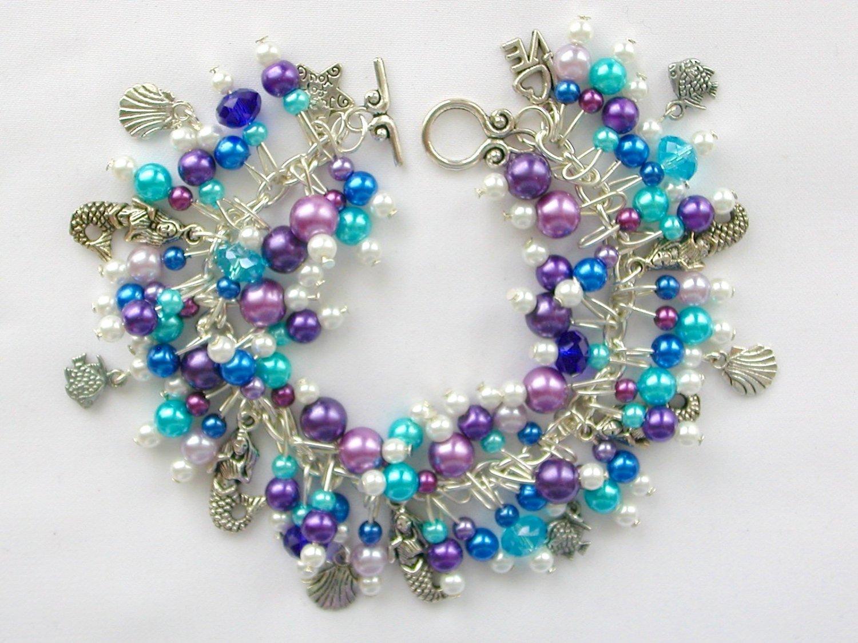 Mermaid Fish Seashell Purple Aqua Blue Charm Bracelet Cha Cha