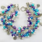 Mermaid Fish Seashell Purple Aqua Blue Charm Cha Cha Bracelet
