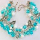 Angel Aqua Blue Crackle Glass Bead Charm Cha Cha Bracelet