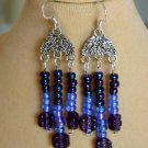 Purple Periwinkle Blue Pressed Flower Bead Chandelier Earrings