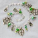 Four Leaf Clover Lucky Green Bead Charm Anklet Bracelet