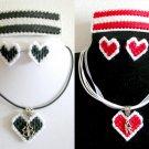 Plastic Canvas red love & black clover charm ribbon earrings barrette pendant