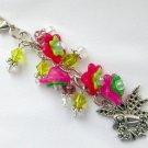 Fairy Zipper Purse Charm Pink Bell Flower Green Crystal Bead