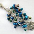 Dragonfly Zipper Purse Charm Iridescent Blue Crystal Bead