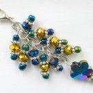 Flower Zipper Purse Charm Gold Blue Iridescent Crystal Bead
