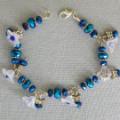 White Bell Flower and Butterfly Peacock Blue AB Crystal Bracelet