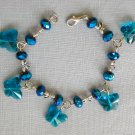 Aqua Glass Butterfly and Dragonfly Peacock Blue AB Crystal Bracelet