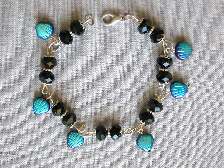 Czech Sea Shell Glass Bead AB Aqua Blue Black Crystal Bracelet