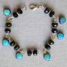 Czech Sea Shell Glass Bead AB Aqua Blue Black Crystal Bracelet