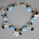 Baby Blue Glass Heart White Flower Black Crystal Bracelet