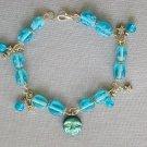 Aqua Blue AB Moon Czech Glass Bead and Star Celestial Bracelet