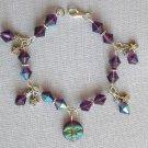 Purple Iridescent AB Czech Moon & Star Celestial Crystal Bead Bracelet