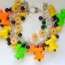 Dog Neon Green Yellow Orange Pony Bead Cha Cha Bracelet