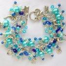 Dolphin Seashell Crystal Bead Aqua Blue Charm Bracelet