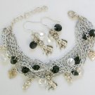 Nuts for Dogs Diamond Shape Crystal Bead Chain Charm Bracelet & Earrings Set