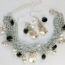 Nuts for Cats Diamond Shape Crystal Bead Chain Charm Bracelet & Earrings Set