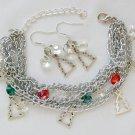 Christmas Tree Charm Crystal Bead Chain Bracelet Set