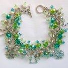 Tree Snowflake Green Crystal Bead Charm Bracelet