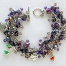 High Heel Shoe Shopping Purple Crystal Bead Charm Bracelet