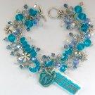 Vegan Vegetarian Aqua Blue Crystal Bead Charm Bracelet