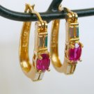 Ruby red stone 925 china latch back gold tone pierced earrings