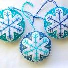 Felt snowflake Christmas Frozen ornament white on aqua & blue