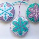 Felt snowflake ornament purple light aqua white