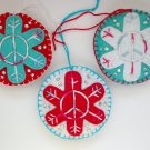 Felt peace sign snowflake ornament red white aqua blue tie dye