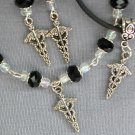 Medical Caduceus Charm Black or Color Crystal Bracelet Earrings Set