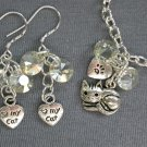 Cat & Paw Heart Crystal Diamond Shape Bead Chain Charm Bracelet Earrings