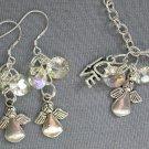 Angel Love Charm Diamond Shape Crystal Bead Silver Chain Bracelet Earrings